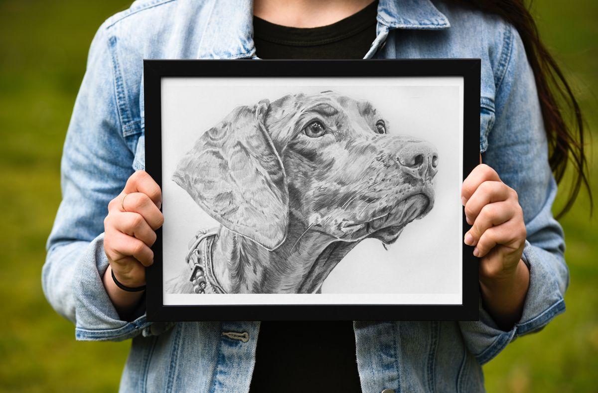 Fotolijst hondentekening portret voorbeeld