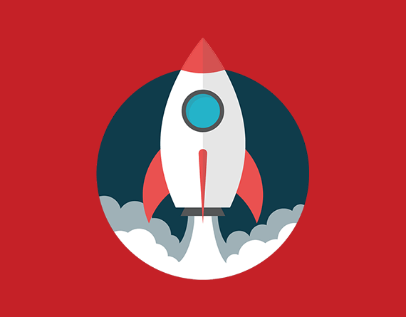 rocketship launching illustration