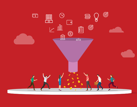 marketing funnel and icons illustration