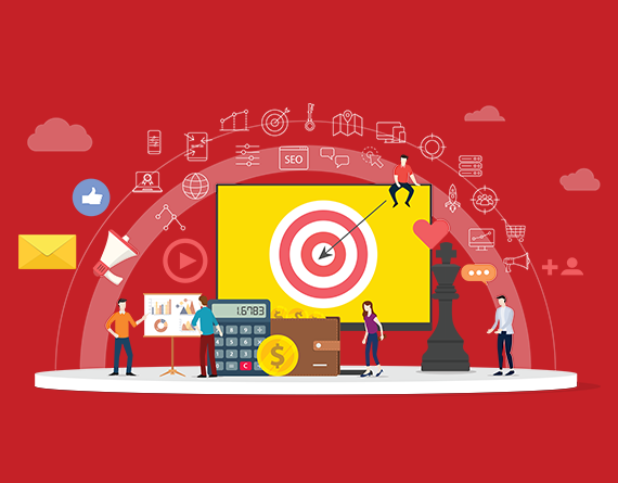 marketing icons and computer illustration