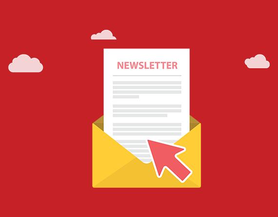 newsletter and envelope illustration
