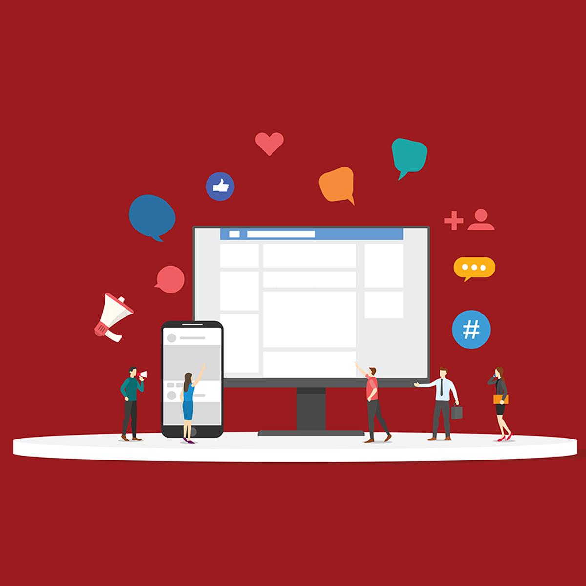 social media icons floating illustration