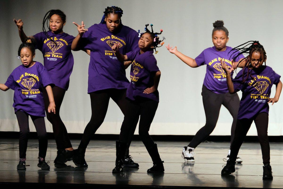 Step team performing