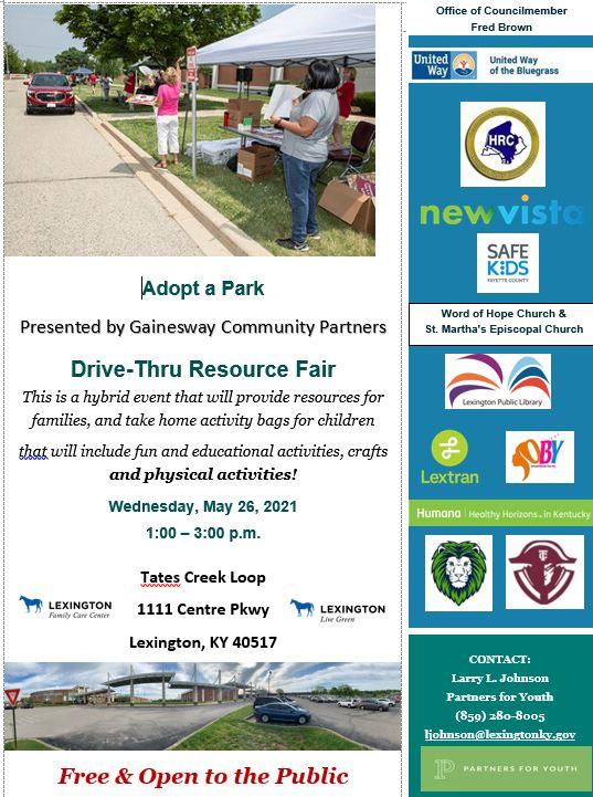Adopt a Park Drive Thru Resource Fair