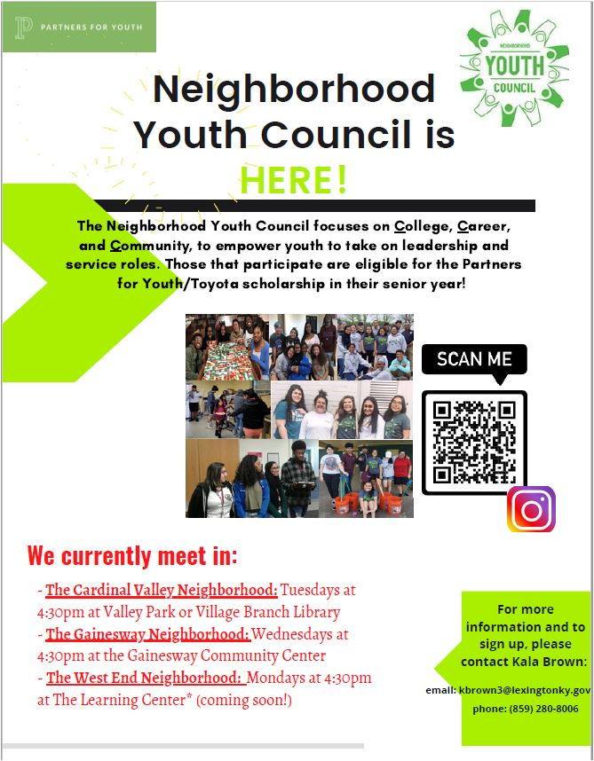 Join our Neighborhood Youth Council
