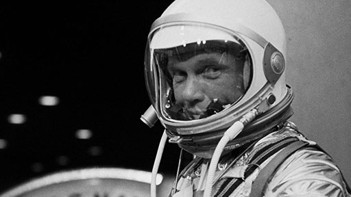 """John Glenn, """"go"""" for launch, February 20, 1962. """"America needed this kind of hero,"""" a Time reporter observed, """"and got it."""" (NASA)"""