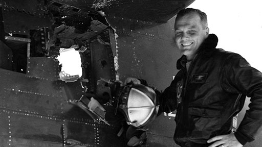 """As a combat pilot in Korea, Glenn ignored orders against attacking a target and ended up with a hole in the tail of his plane. """"The man is crazy,"""" said his wingman, Ted Williams, the Boston Red Sox left fielder. (John Glenn Archives, The Ohio State University)"""