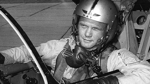 Project Bullet, July 1957. Glenn set a transcontinental speed record and was hailed, in headlines and newsreels, as a national hero. (John Glenn Archives, The Ohio State University)