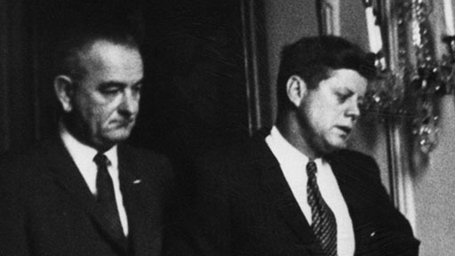 Watching in silence at the White House. No one — besides Glenn himself — had more riding on the fate of Friendship 7 than Kennedy. From left: Sen. Hubert Humphrey, Johnson, Kennedy. (John Glenn Archives, The Ohio State University)