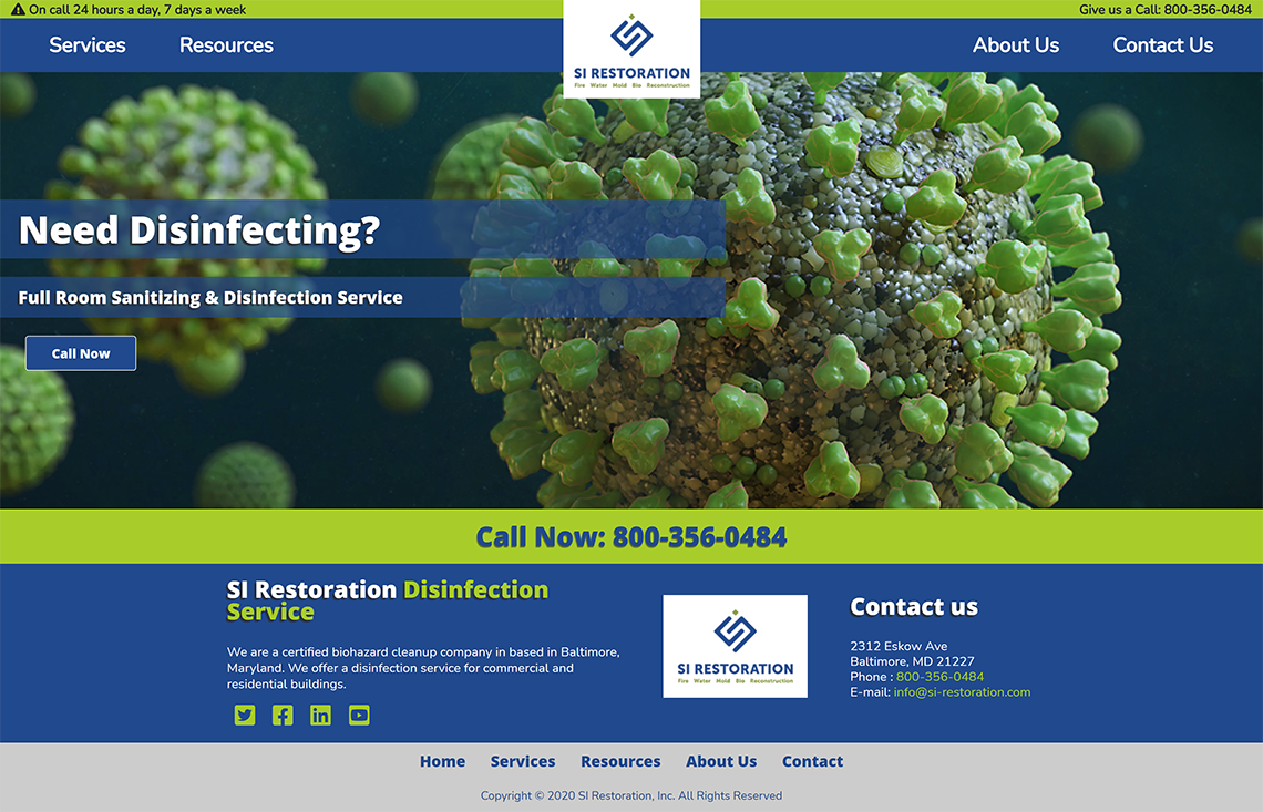 One Page Disinfection Website