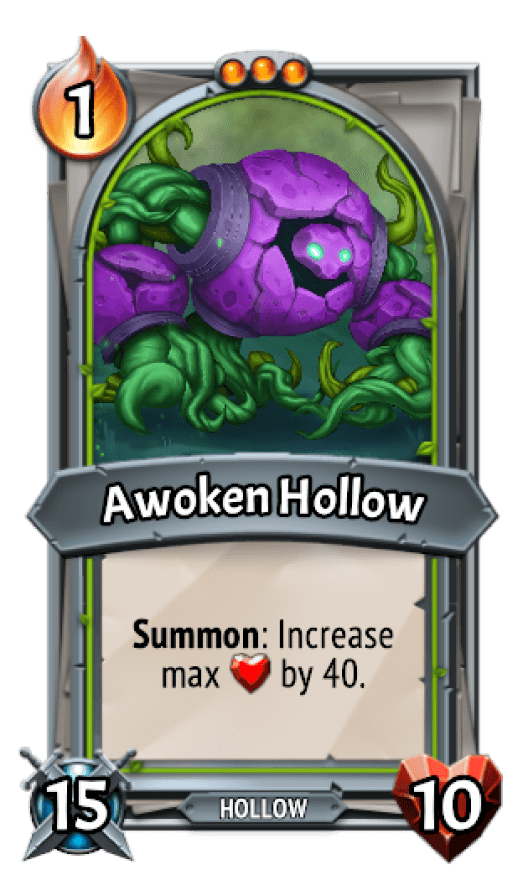 Awoken clan's card with a big purple nature elemental Gollum.