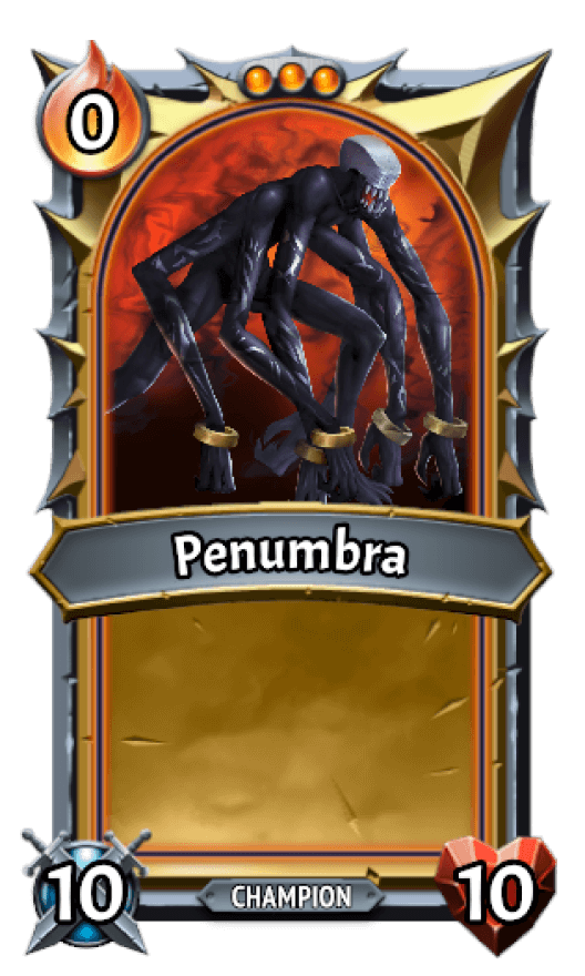 Umbra clan's card with a eight legged slender black creature.