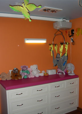 Amber's new changing table with a ceiling mounted lift system.