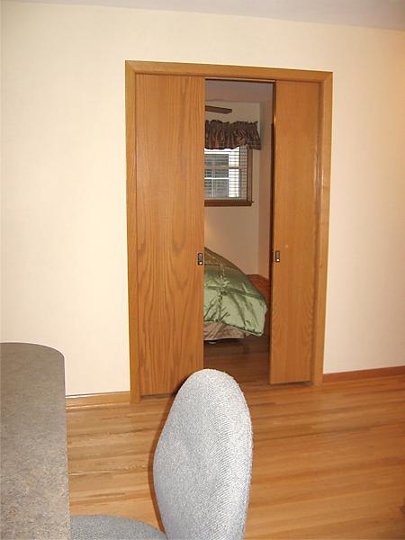 Widened pocket door installed.