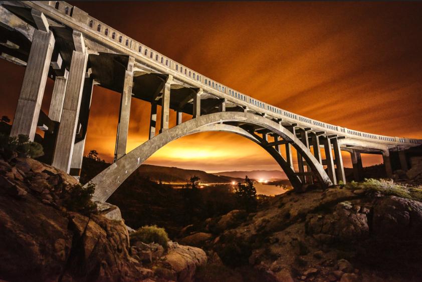 Visit Truckee's Rainbow Bridge at night.