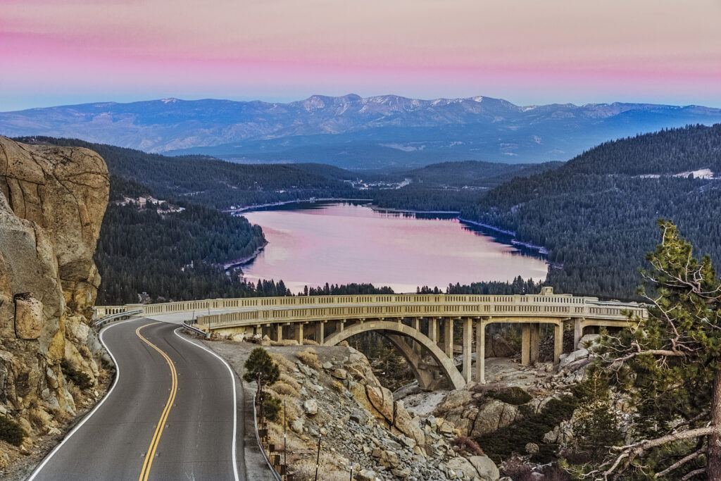 Drive down Donner Pass Road from Donner Summit for views of Rainbow Bridge