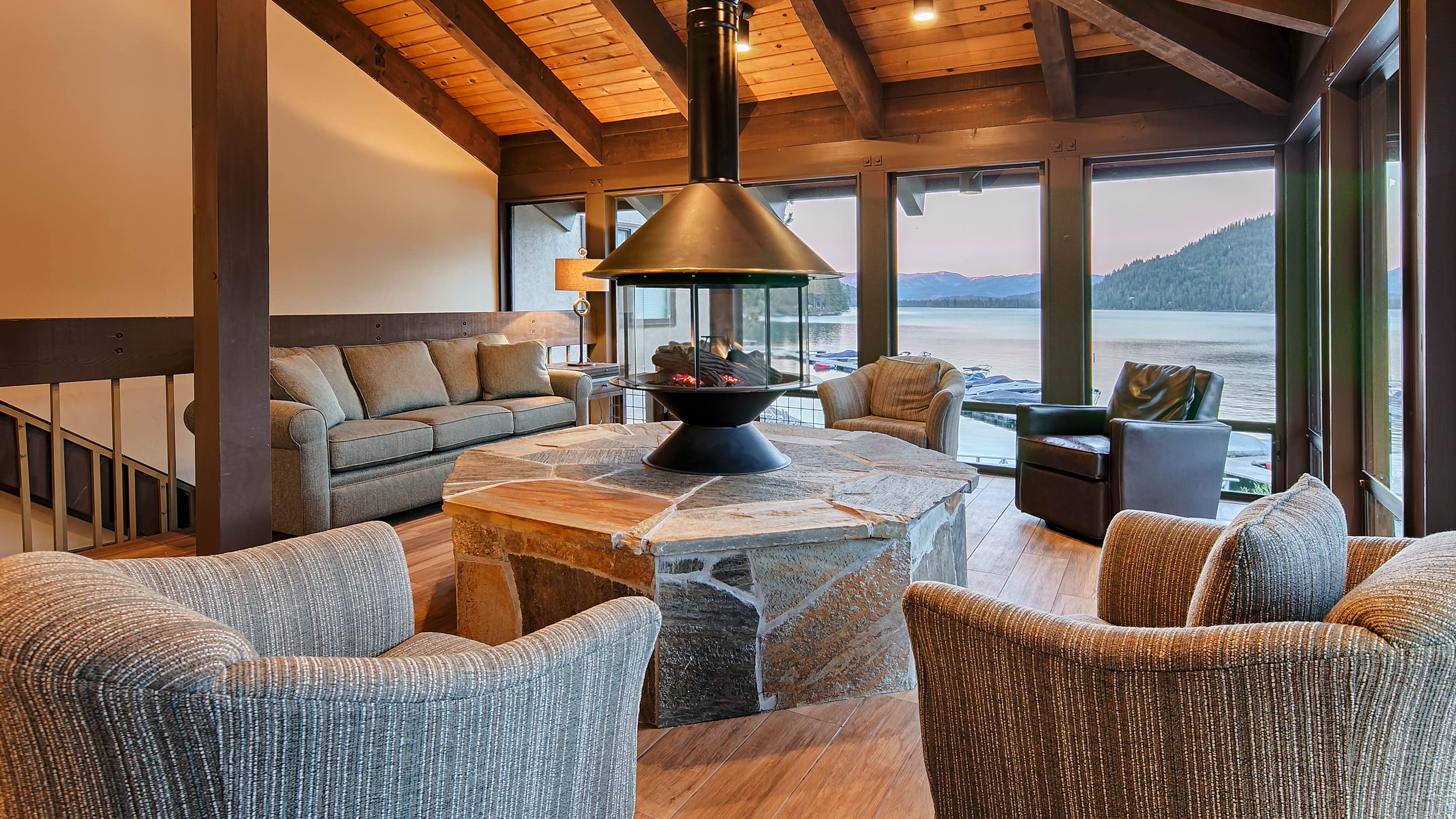 A fireplace lounge at Truckee's Donner Lake Village.
