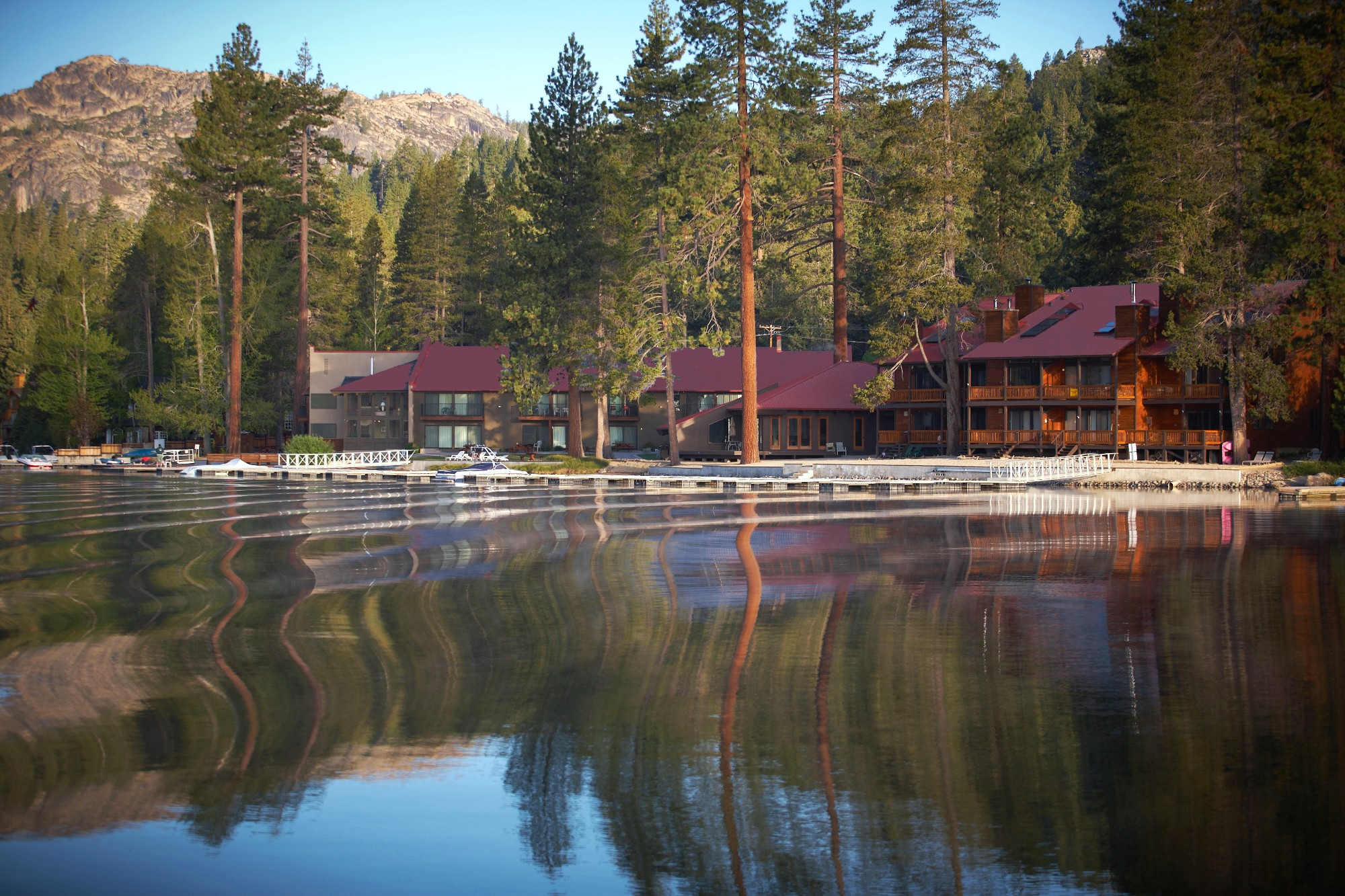 Donner Lake Village as seen from Donner Lake.