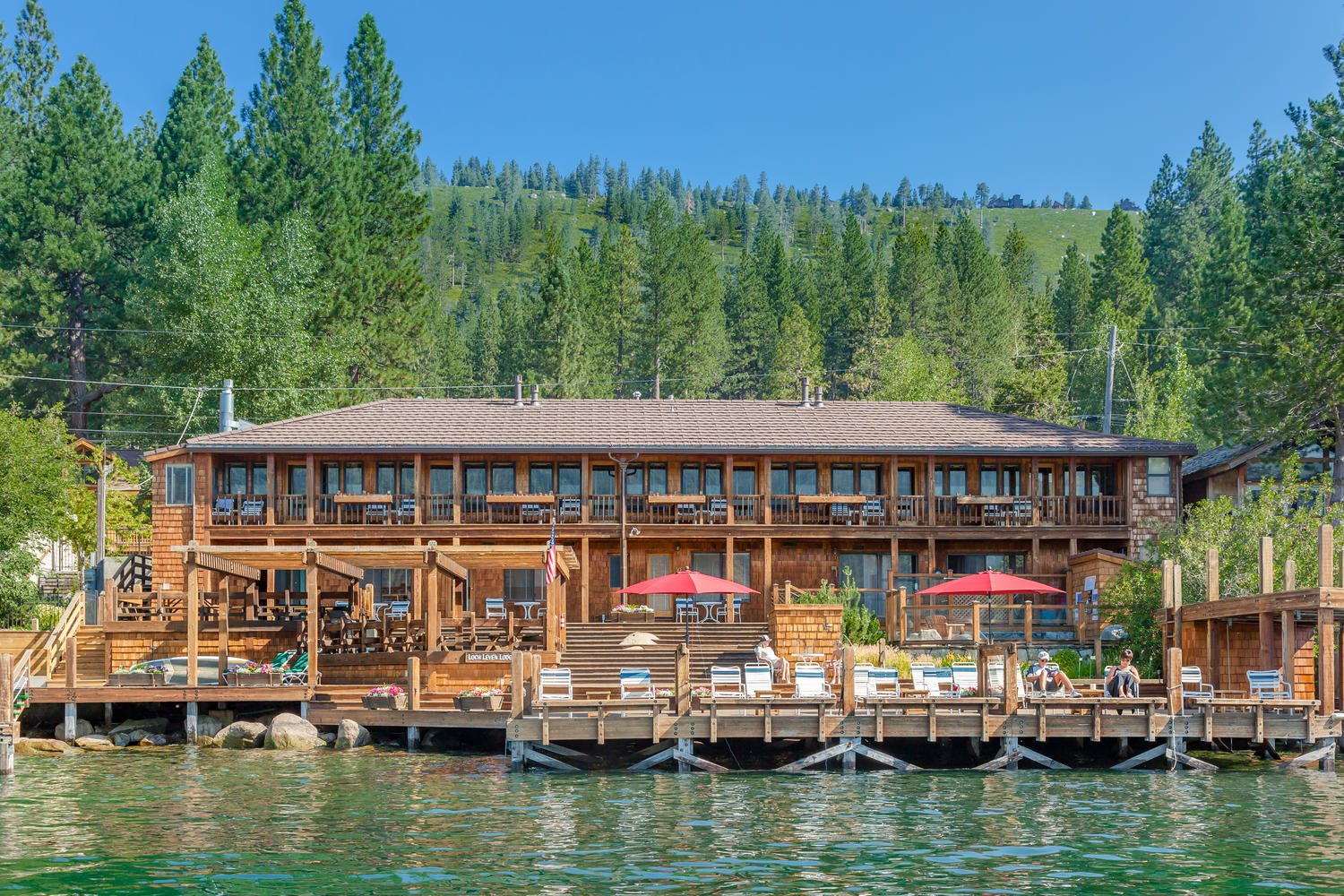 Loch Leven Lodge as seen from Donner Lake in Truckee-Tahoe.