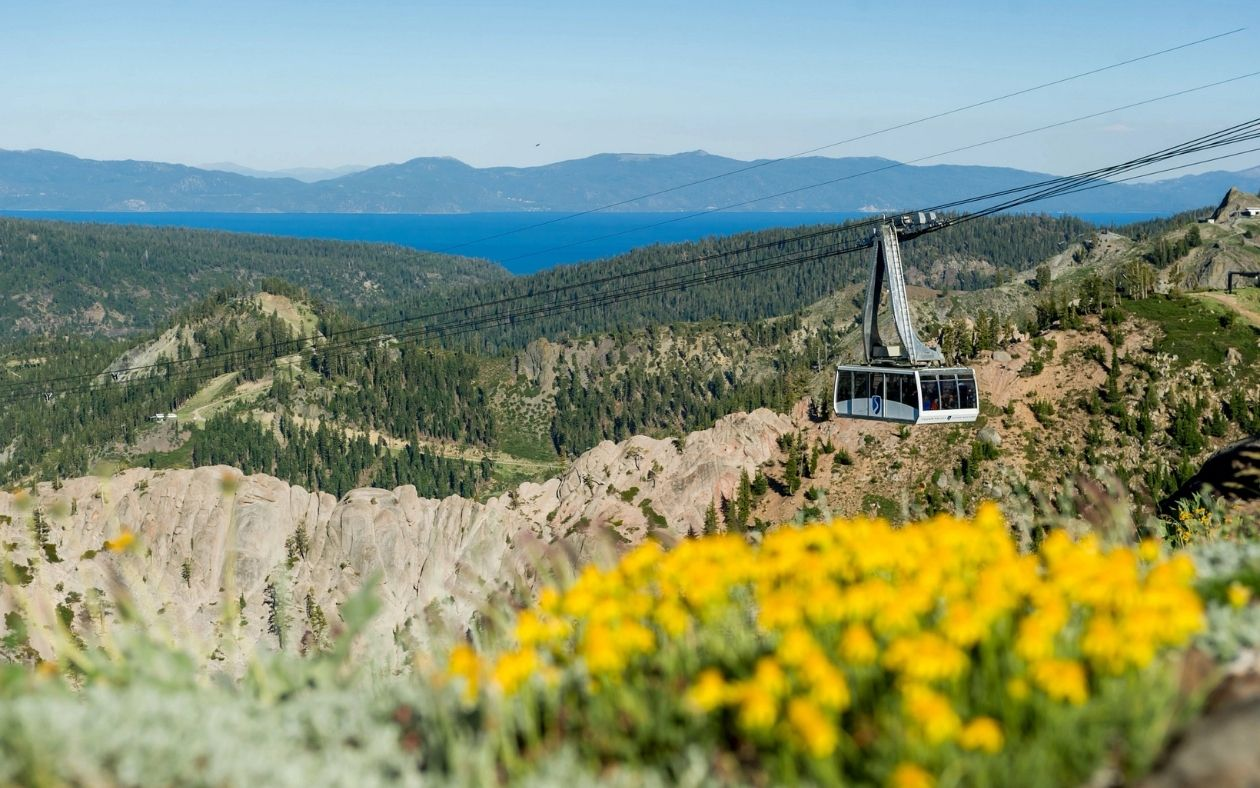 Squaw Valley Alpine Meadows scenic aerial tram tour over High Camp.