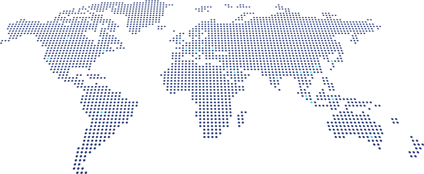 Map of the world with various displayed locations of Voucherify customers
