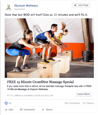 Facebook ads for chiropractic leads example