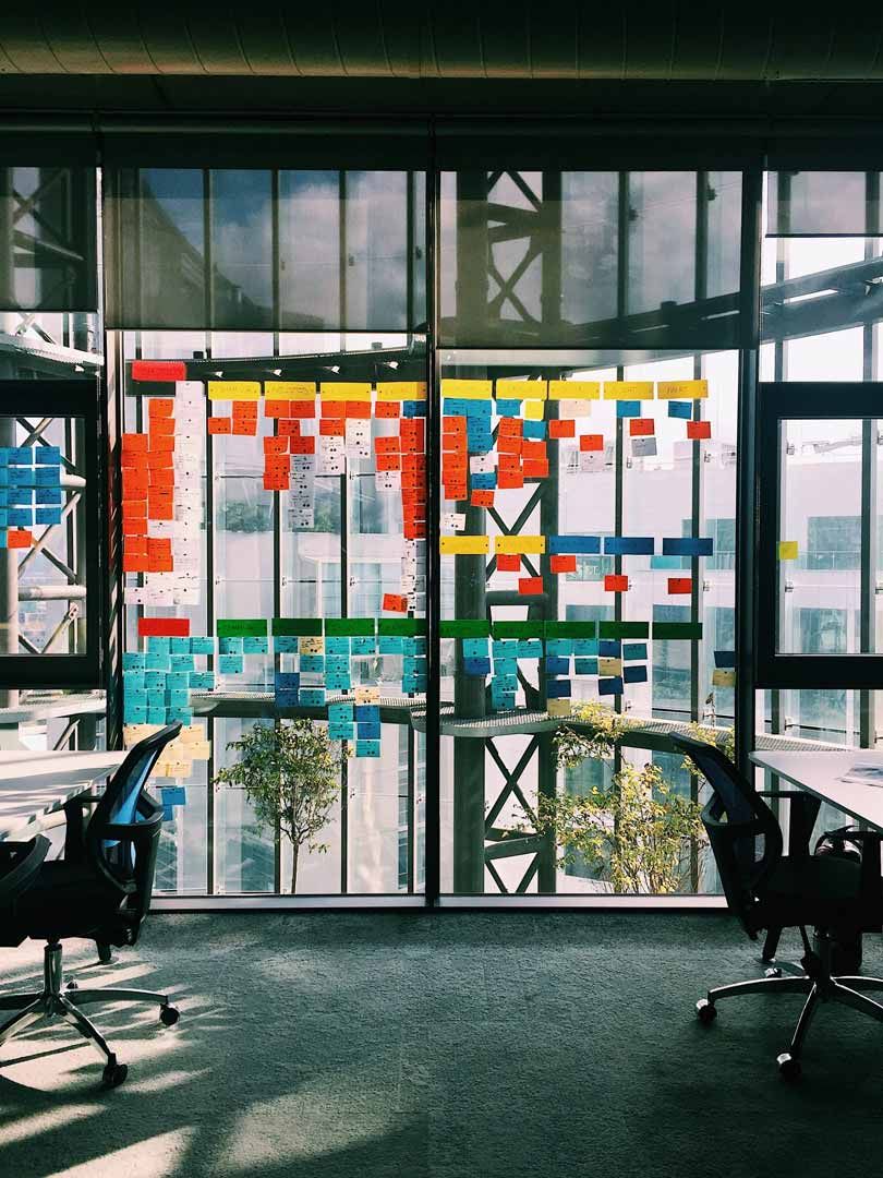 An office room with brainstorm post-it notes on the wall