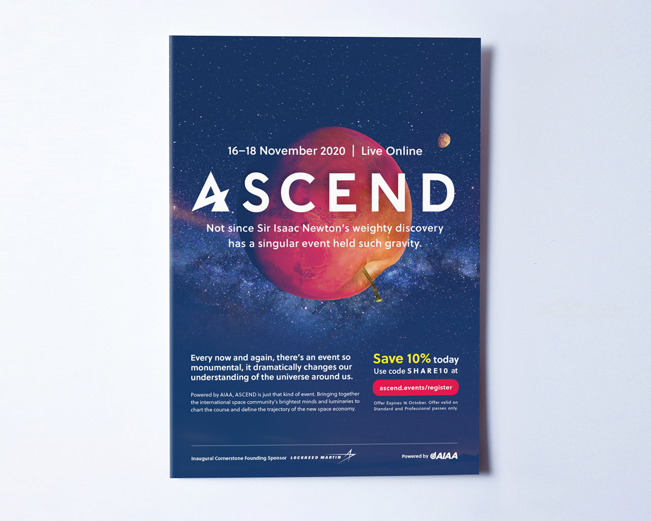 Print ad promoting the virtual event ASCEND