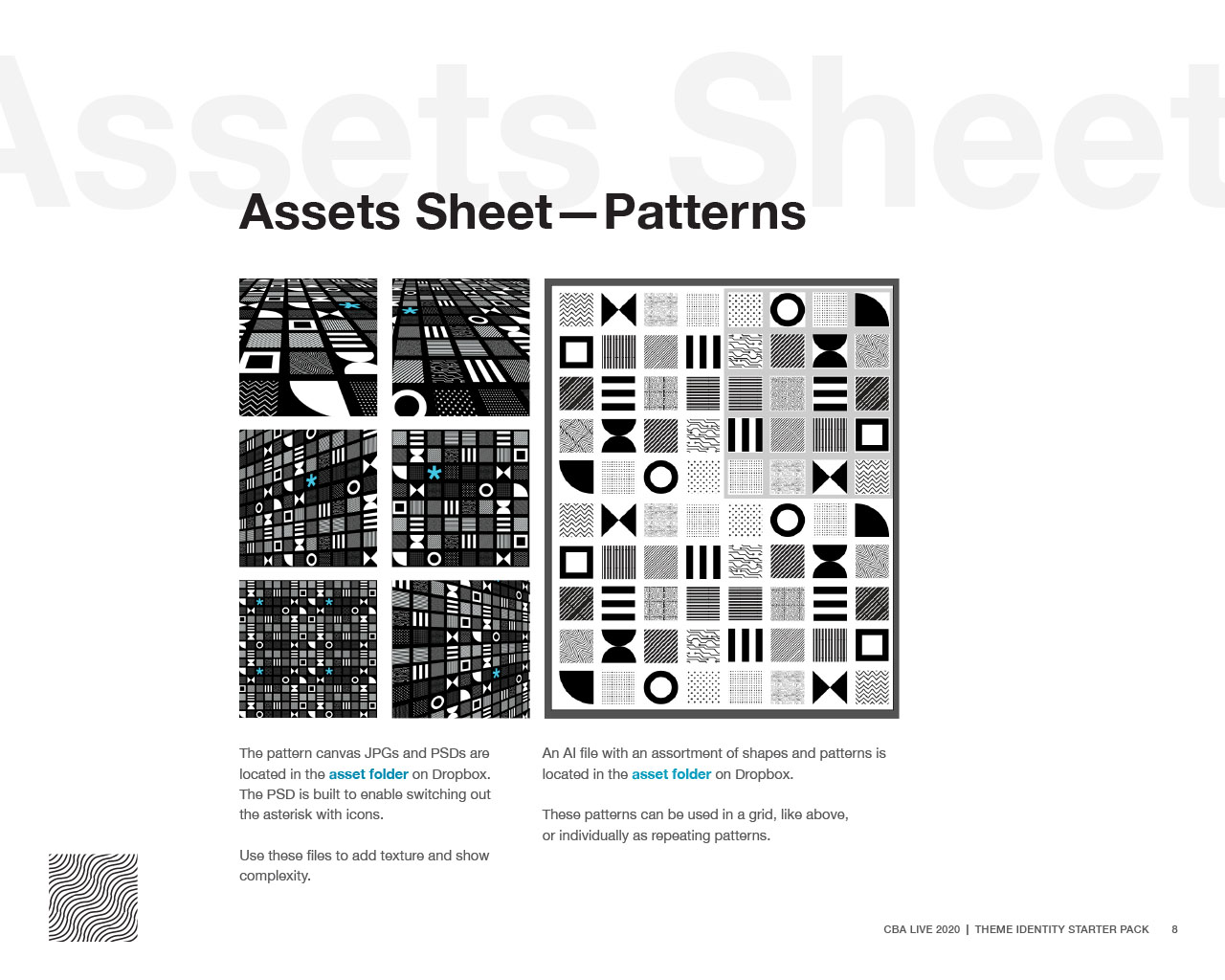 Assets sheet displaying CBA LIVE 2020 patterns and textures