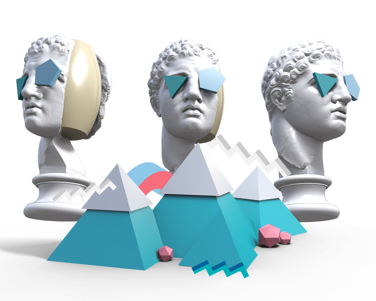 3d rendering of three sculture busts wearing sunglasses behind three colorful mountains