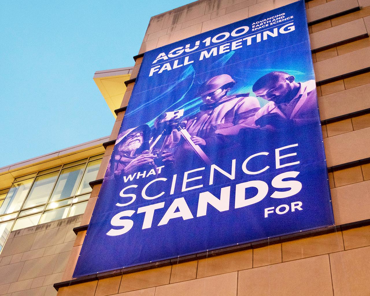 Outdoor signage promoting AGU Fall Meeting 2019