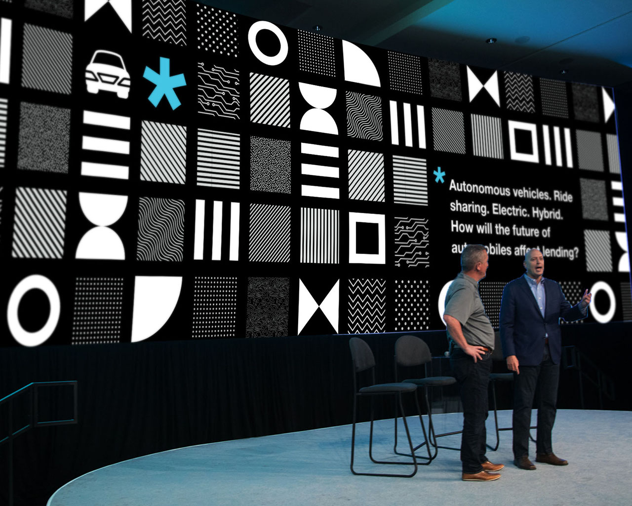 CBA LIVE 2020 stage with speakers and branded textures and asterisk on the screen