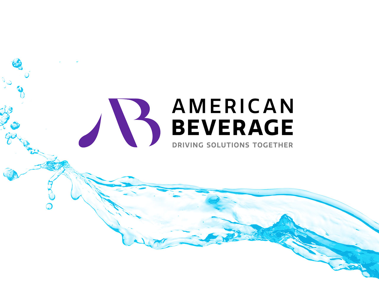 American Beverage logo with a blue splash of liquid in the background