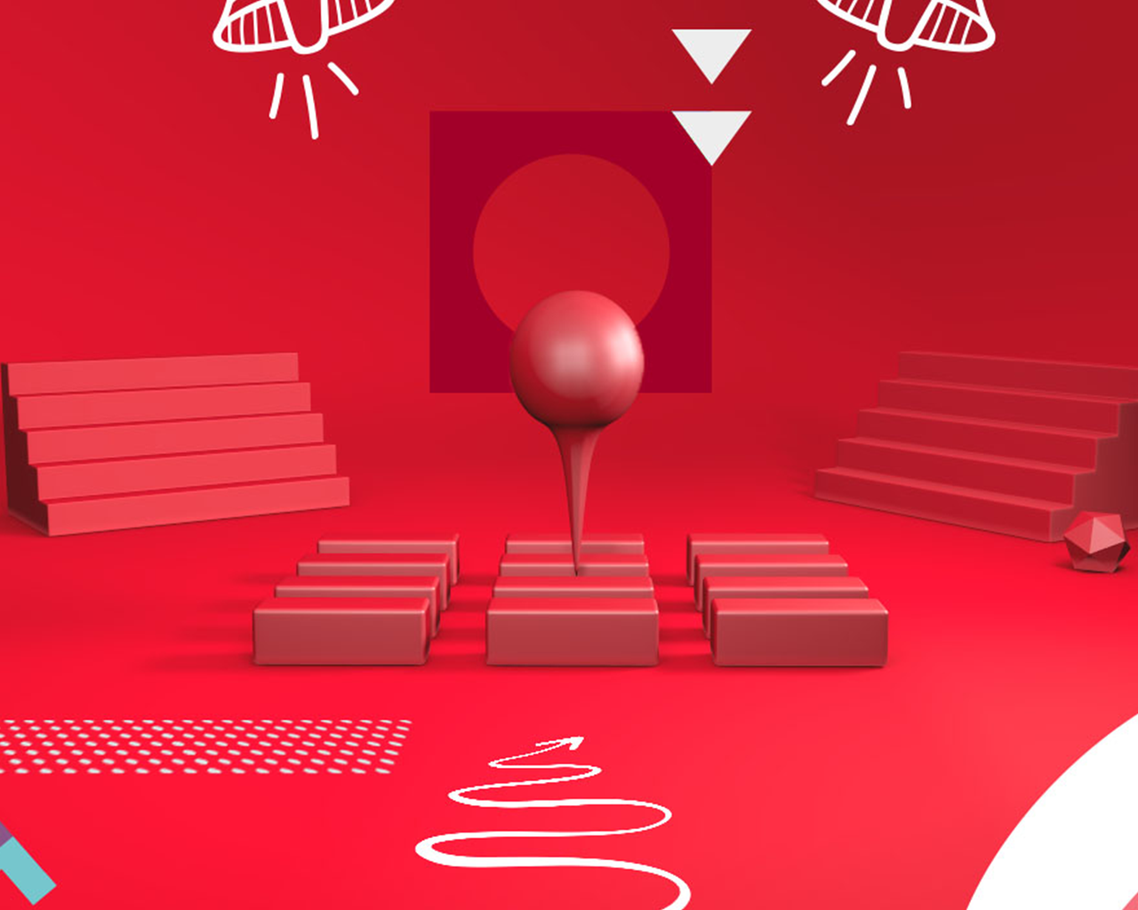 Abstract scene of red 3d shapes making up a conference stage