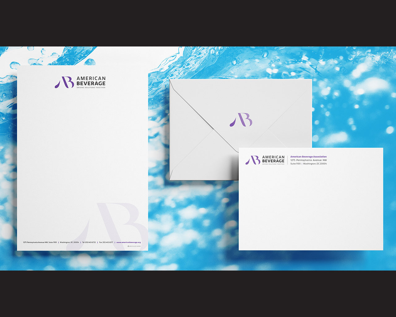 Brand identity suite for American Beverage