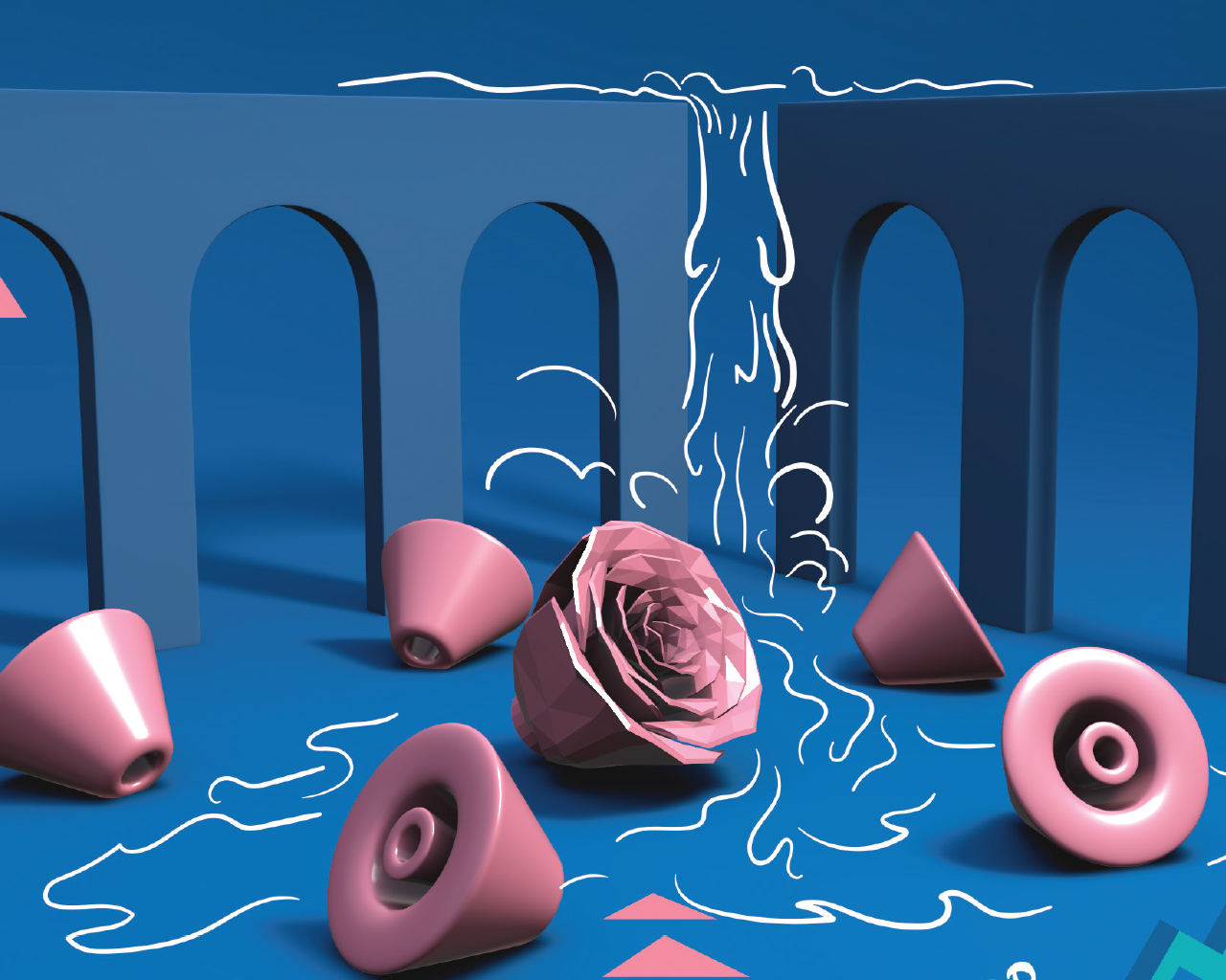 3d illustration with 2d elements of shapes falling down a waterfall