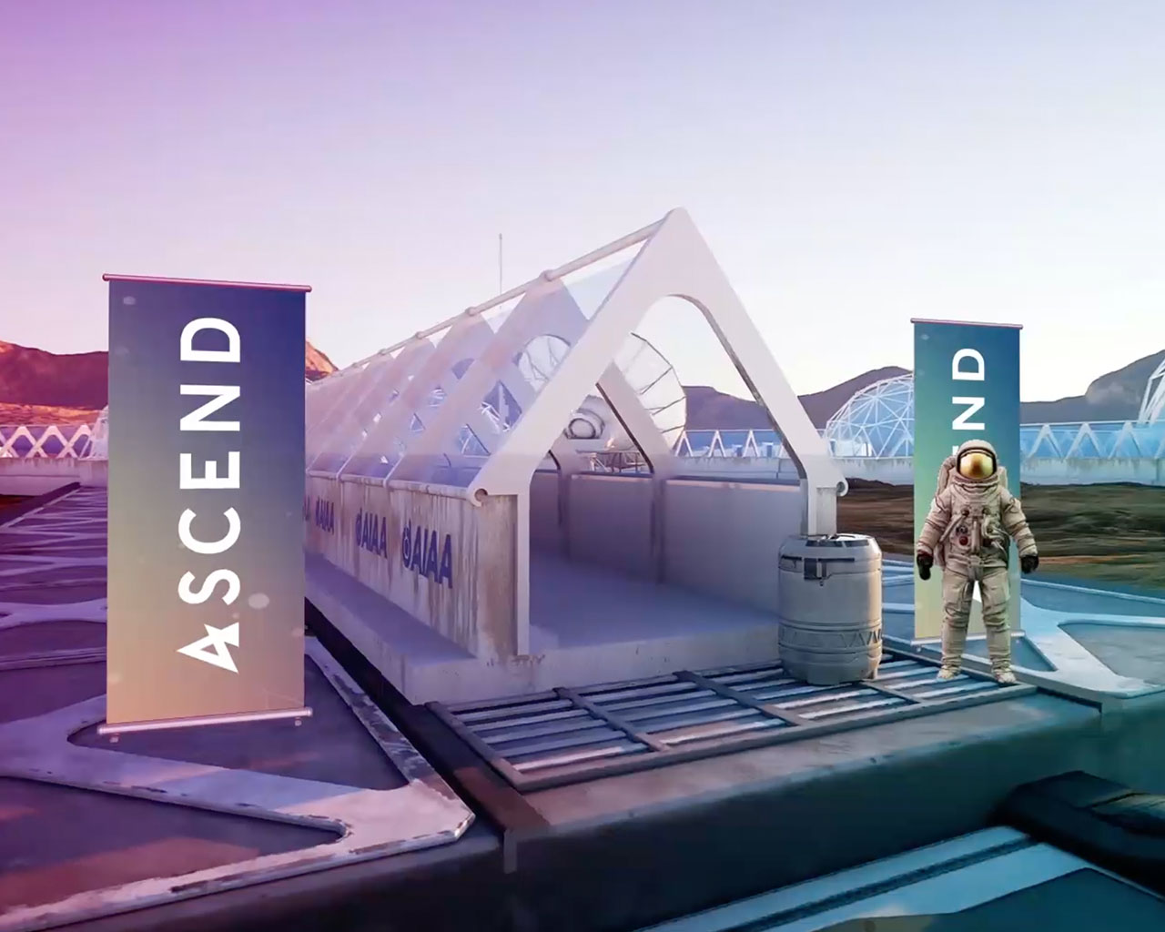 Astronaut standing by the entrance to the virtual ASCEND event
