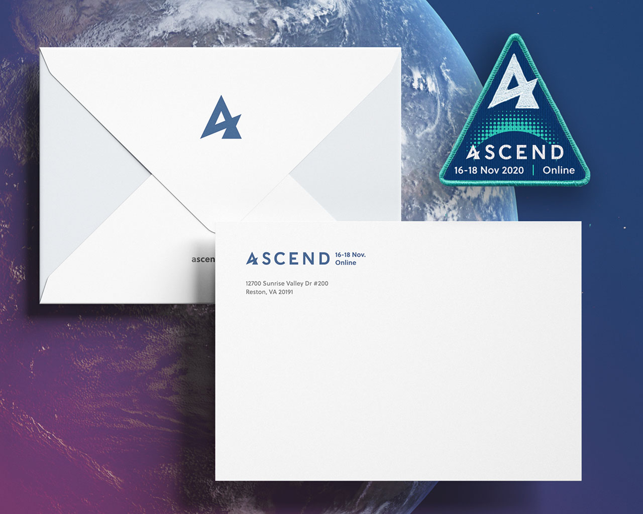 Branded envelope and mission patch for ASCEND