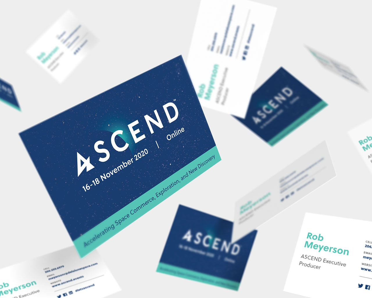 Several floating business cards for the virtual event ASCEND
