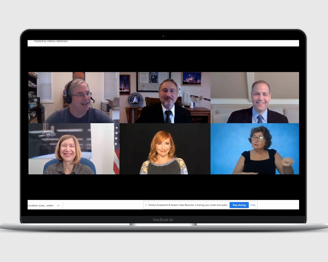 Laptop screen showing a session from the virtual event ASCEND