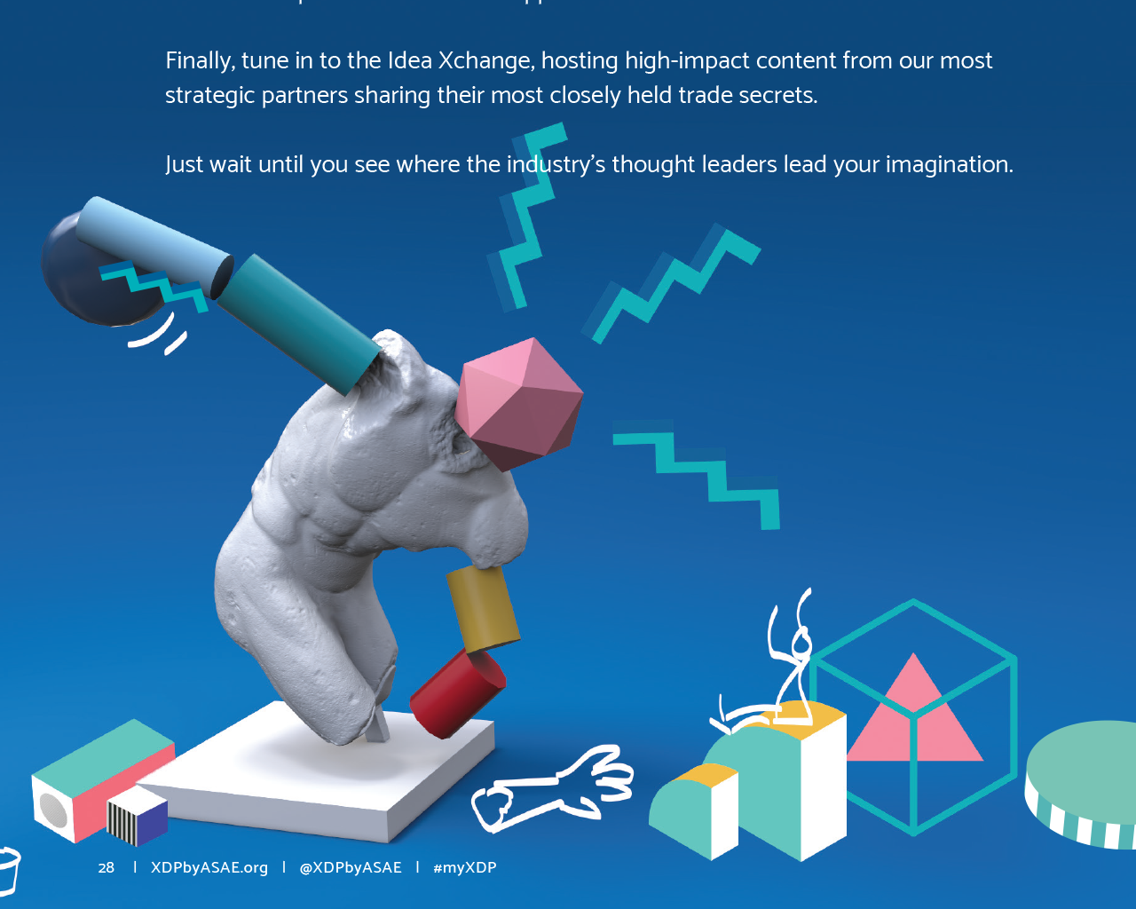 Artwork from XDP 2019 event playbook with a colorful mixture of 3d and 2d shapes