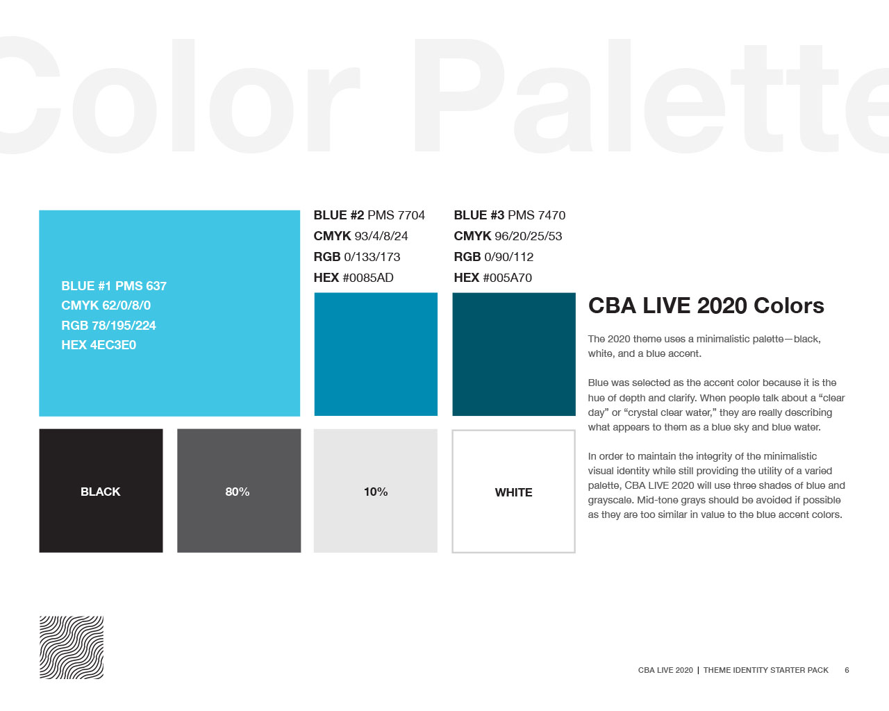 Grid displaying CBA LIVE 2020 color palette