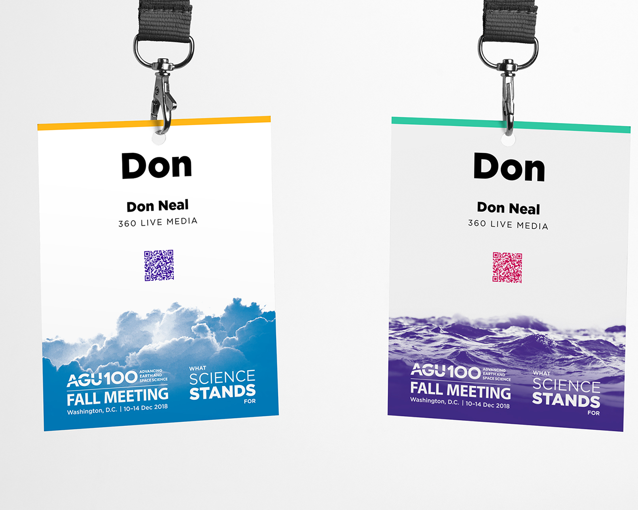 Two alternate versions of the AGU Fall Meeting 2019 attendee badge