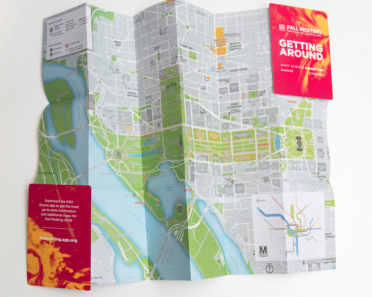 Open pocket map detailing the surrounding location in DC of AGU Fall Meeting 2019