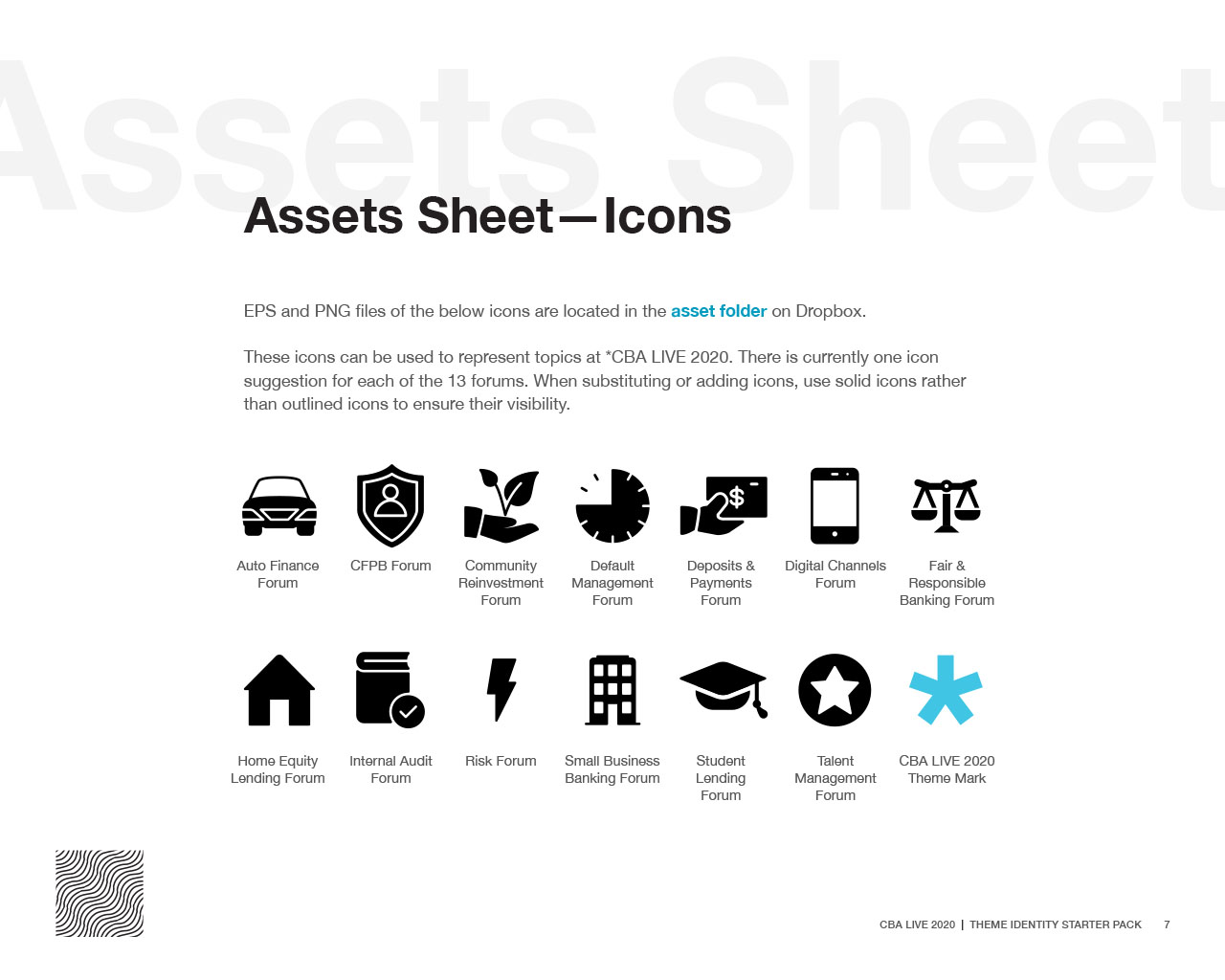 Assets sheet displaying CBA LIVE 2020 branded icons