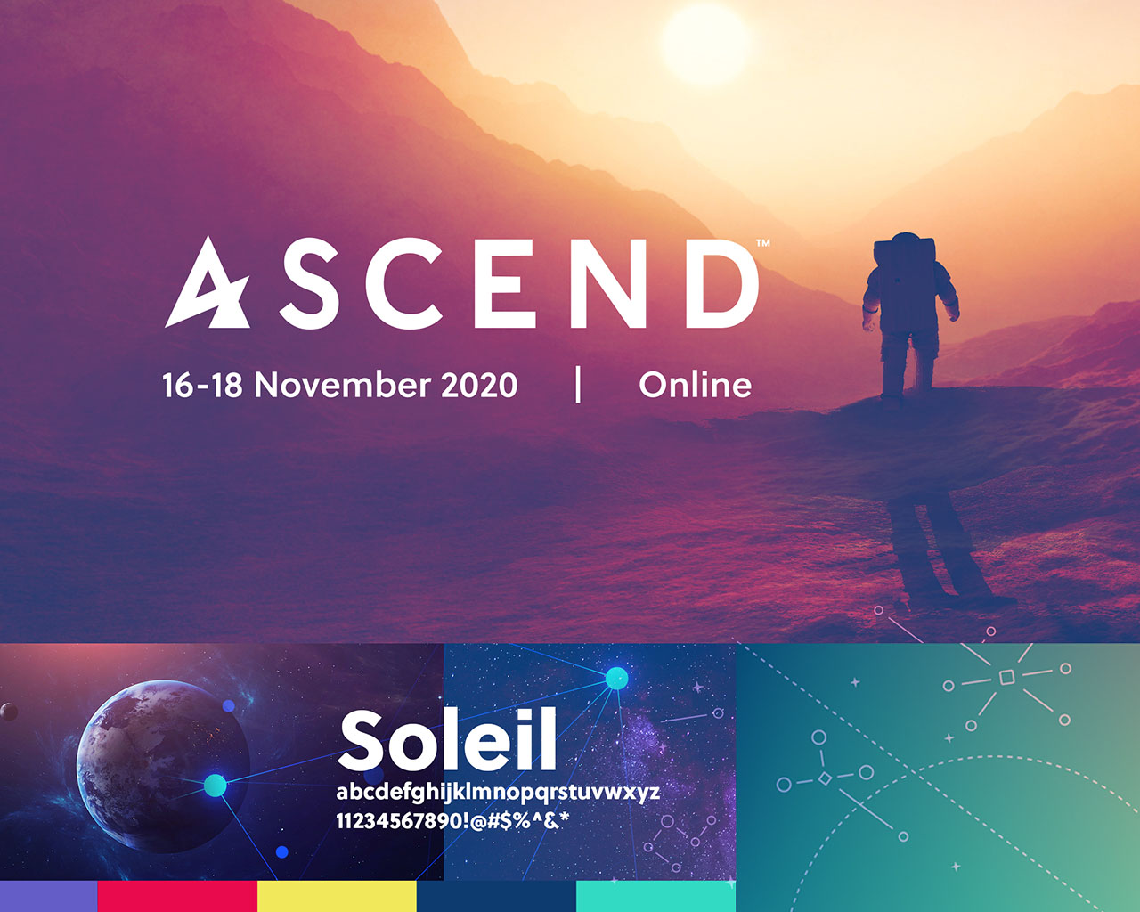 Grid of branded imagery, color and typography for the virtual event ASCEND