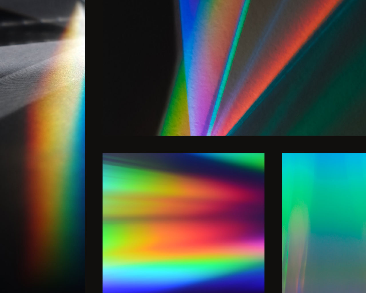 Grid of colorful light spectrum textures for the SHIFT brand