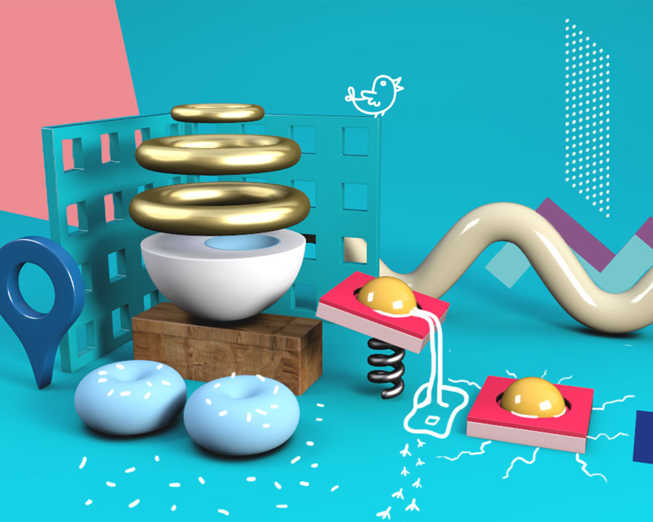 Scene of various colorful 3d shapes interacting