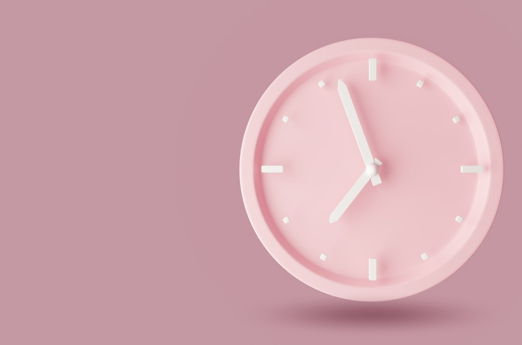 Image of a pink clock