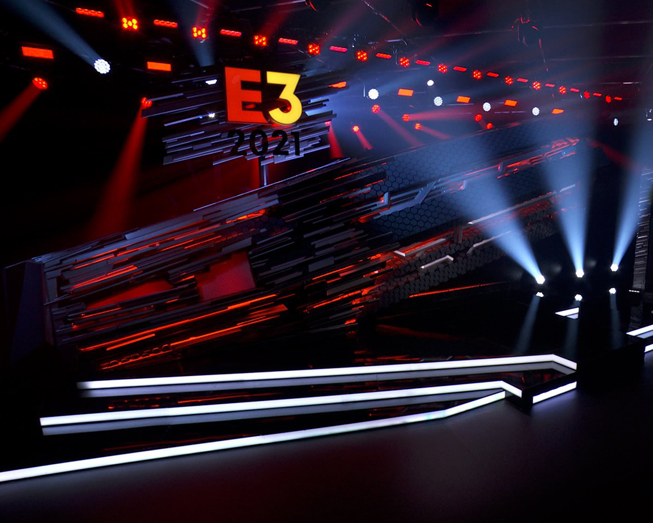 E3 2021 stage with dramatic lighting